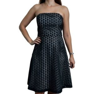 WHBM Strapless black eyelet lace fit & flare dress
